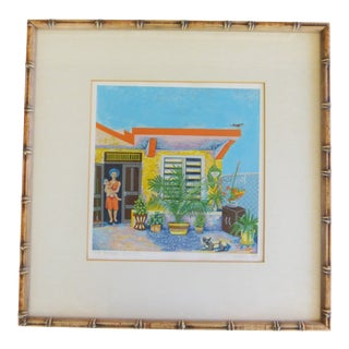 Vintage Faux Bamboo Framed Silk Screen Print - Mother Child on Tropical Terrace For Sale