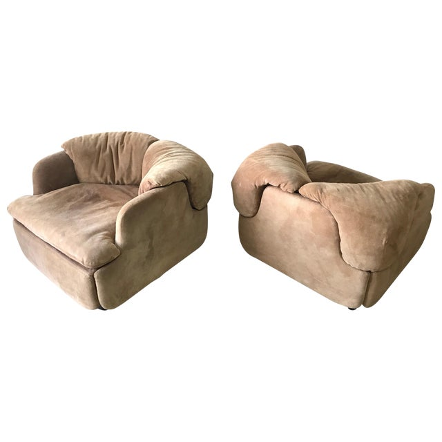 """Rare Pair of Suede """"Confidential"""" Armchairs or Club Chairs by Alberto Rosselli For Sale"""