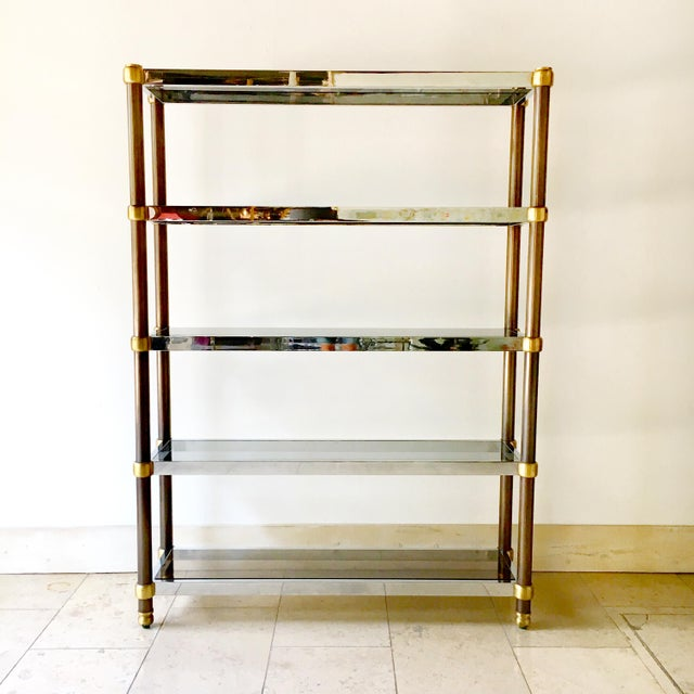 Five Tier Copper and Chrome Framed Etagere with Brass Detailing and Tinted Glass Shelves France 1970s