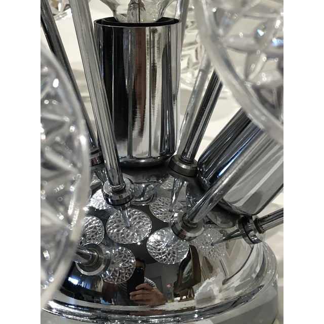 1960s Val Saint Lambert Crystal and Chrome Sputnik Wall or Flush Mount For Sale - Image 5 of 5