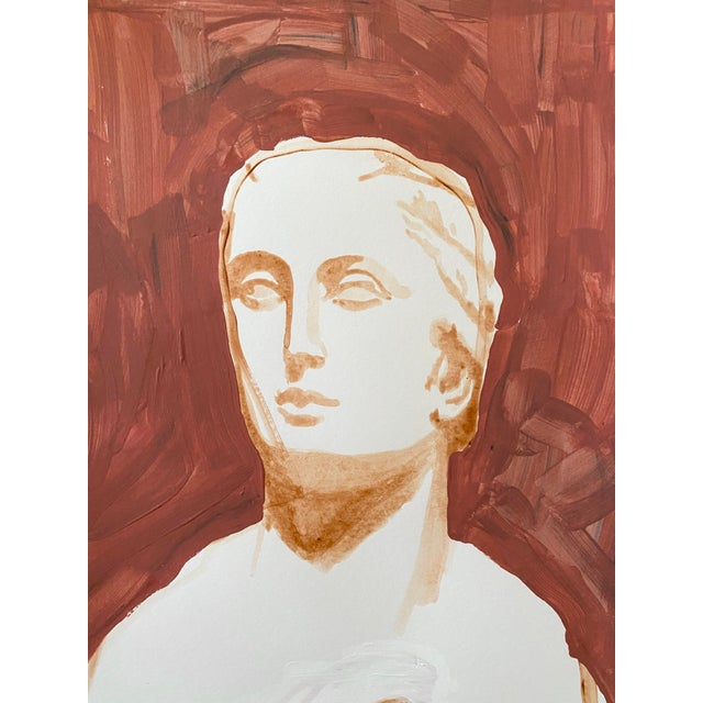 Neoclassical Ancient Roman Woman Sculpture Painting, Acrylic on Paper For Sale - Image 3 of 9
