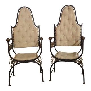1920s Vintage Cast Bronze Arm Chairs- A Pair For Sale