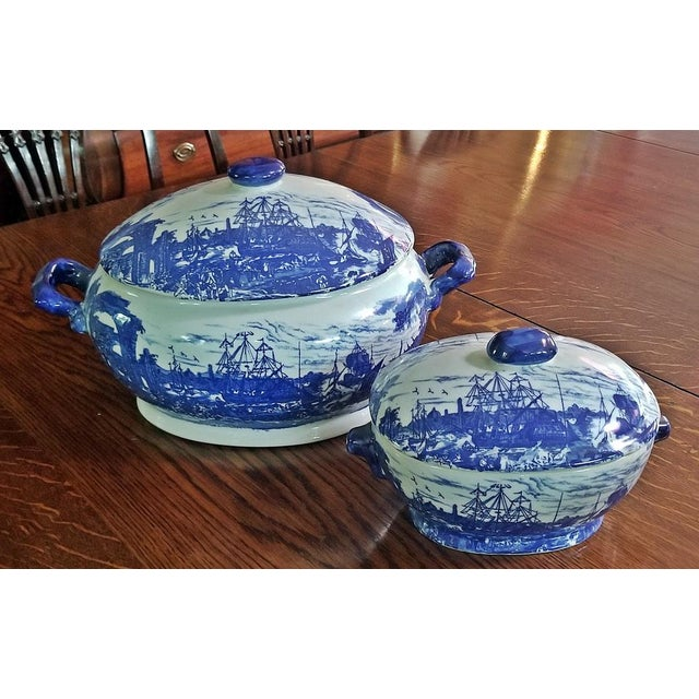 Pair of 19c Staffordshire Ironstone Lidded Tureens of Shipping Scenes For Sale - Image 13 of 13