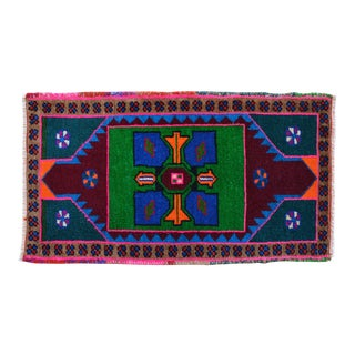 """Hand Knotted Oushak Rug. Colorful Rug, Bath Mat, Kitchen Decor 1'7"""" X 2'9"""" For Sale"""