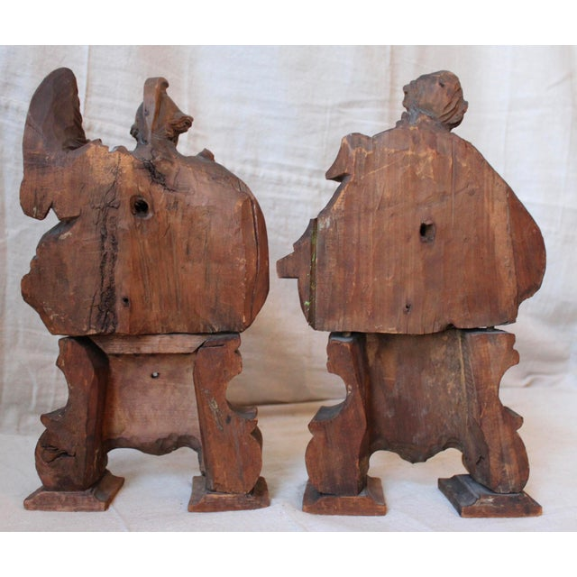 18th C. Wood Figure Carvings - Pair - Image 9 of 10