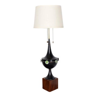 Mid Century Mexican Modernist Table Lamp With Enamel Decorations For Sale