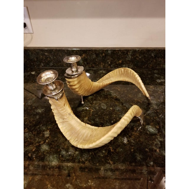 Big Horn Sheep Silver Plated Candlesticks - a Pair For Sale - Image 6 of 6