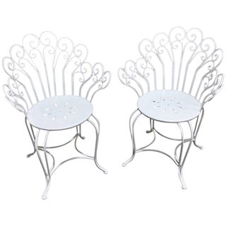Restored Antique French Wrought Iron Garden Chairs in White - a Pair For Sale