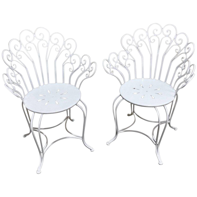 Restored Antique French Wrought Iron Garden Chairs in White - a Pair  sc 1 st  Chairish & Vintage u0026 Used French Patio and Garden Furniture | Chairish