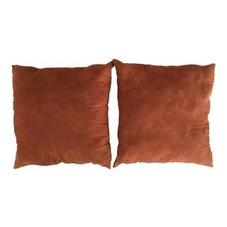 Orange Faux Suede Accent Pillows - A Pair