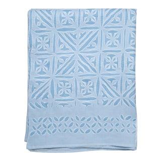 Azure Applique Bedspread, Queen - Sky Blue For Sale