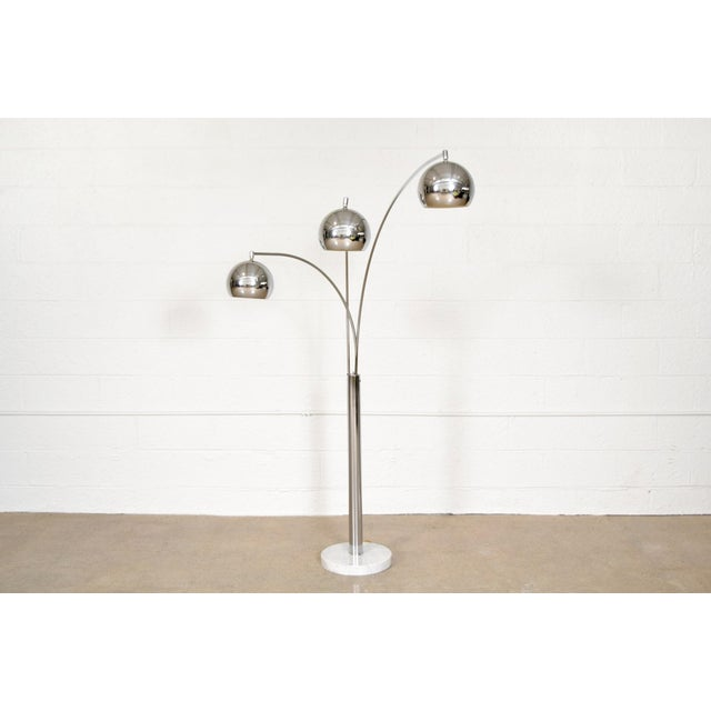 Mid Century Sonneman Style 3 Light Chrome Arc Floor Lamp with Marble Base - Image 2 of 11