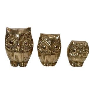 Vintage Brass Owl Family - Set of 3 For Sale
