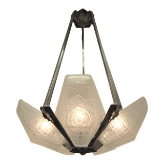 1920s French Art Deco Frosted Art Glass Chandelier For Sale
