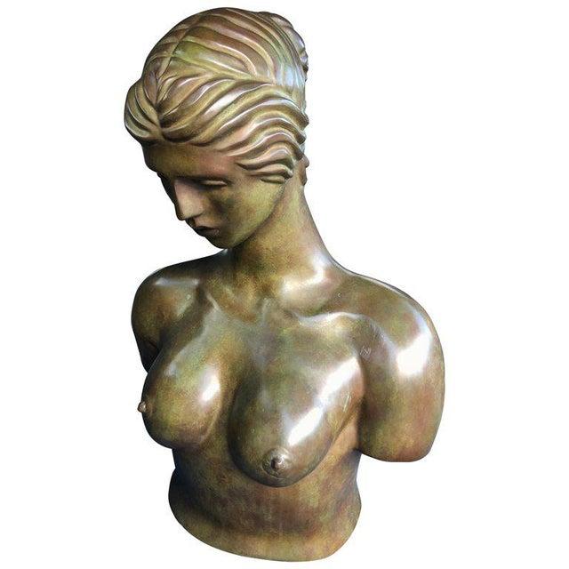 1940s Art Nouveau John Destefano Female Bronze Nude Sculpture For Sale - Image 11 of 11