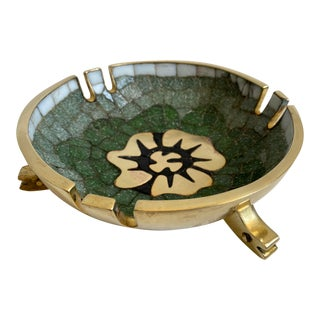 Mid 20th Century Salvador Teran Brass and Glass Tile Bowl For Sale