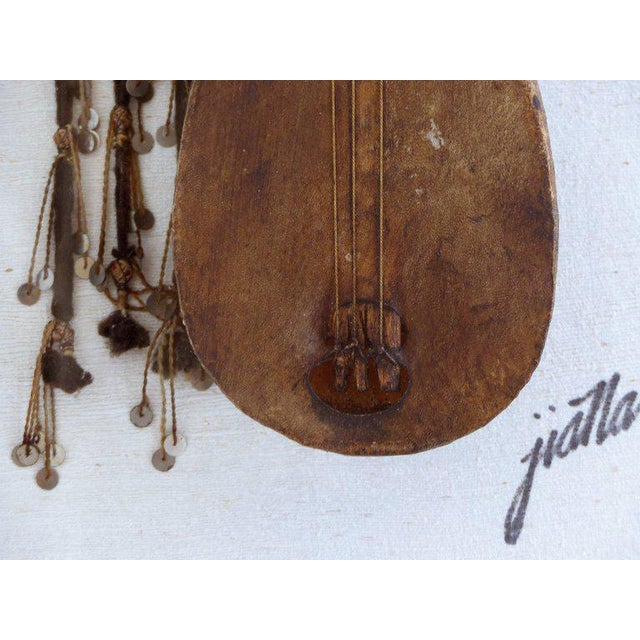 Antique Moroccan Lute of Goatskin on Wood Mounted in a Lucite and Silk Shadowbox For Sale In Miami - Image 6 of 9