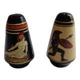 Image of Mid-Century Greek Heroes Hand-Painted Salt and Pepper Shakers - a Pair For Sale