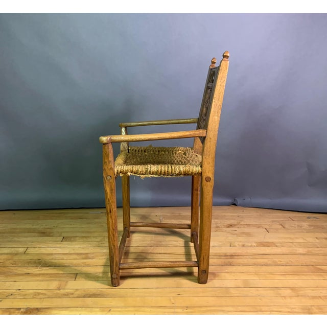 Country 1823 Danish Carved Pine and Rope Armchair, Crowned Monogram For Sale - Image 3 of 12