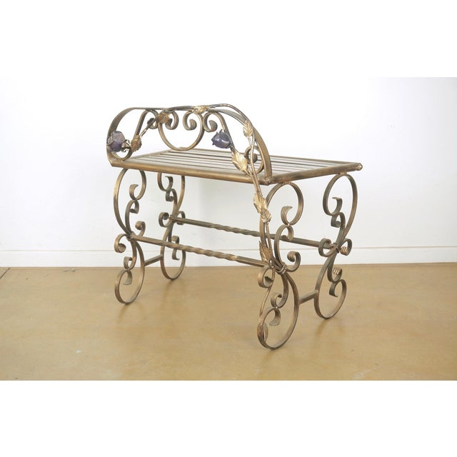 Wrought Iron Vanity & Mirror With Granite Table Top , Floral Accents & Coordinating Bench For Sale - Image 11 of 13