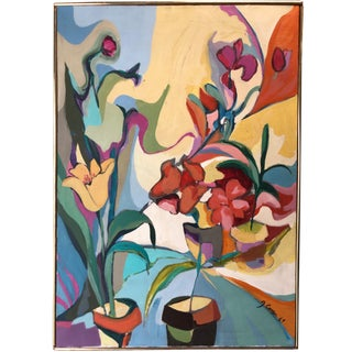 1969 Floral Painting Mid Century Still Life Ny Artist For Sale