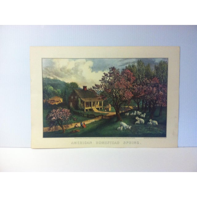 """Currier & Ives Color Print, """"American Homestead - Spring 1869"""", 1954 For Sale - Image 4 of 4"""