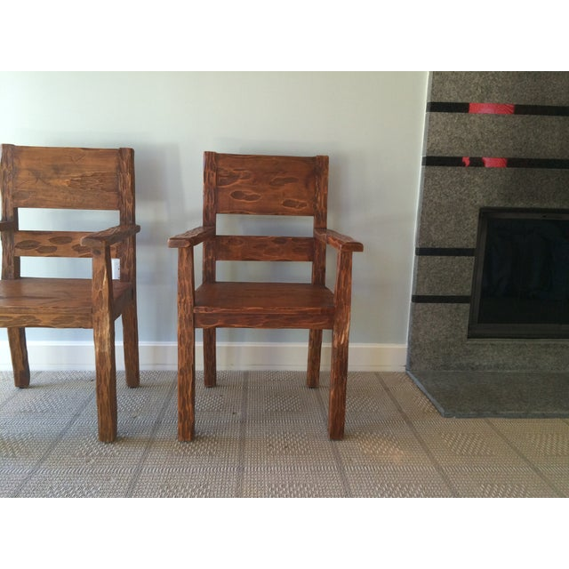African Style Carved Wooden Chairs - A Pair - Image 8 of 11
