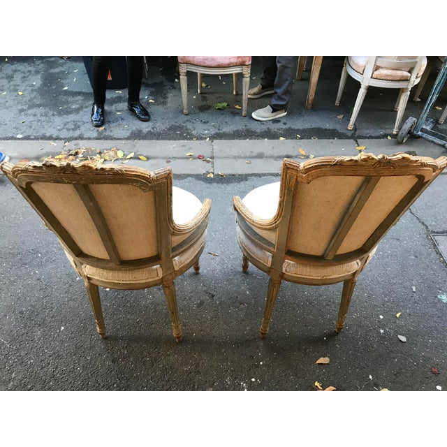 French 1860 French Petite Fauteuils - a Pair For Sale - Image 3 of 6