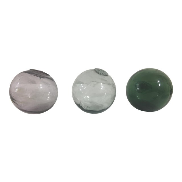 Blown Glass Globes- Set of 3 For Sale