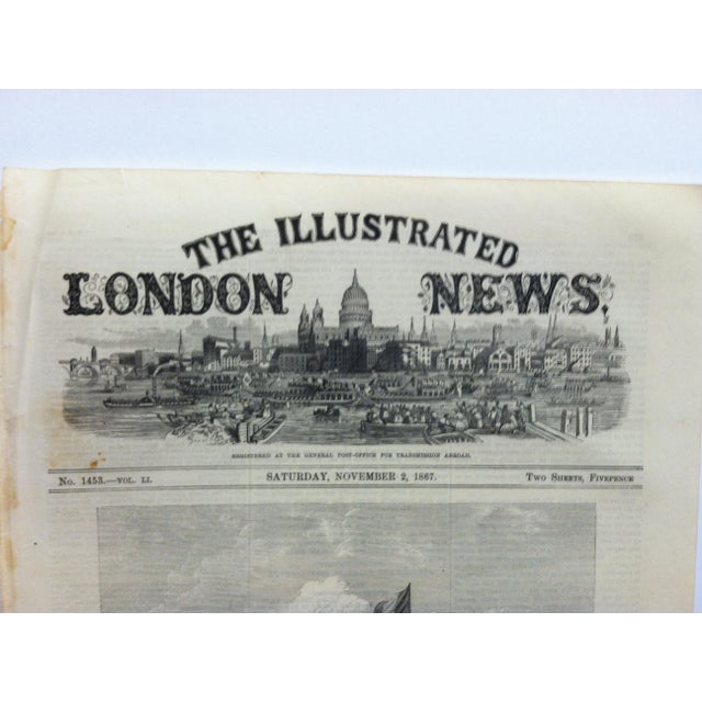 "1867 Antique ""Closing of the French Exhibition: The Pavilion of the Imperial Commissioners"" The Illustrated London News Print For Sale - Image 4 of 5"