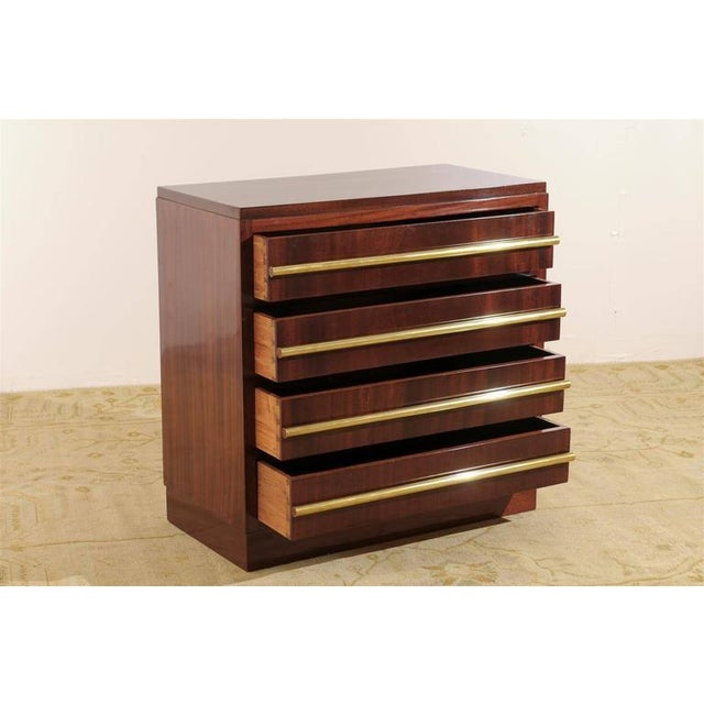 André Sornay Signed Andre Sornay Chest in Ribbon Mahogany and Brass For Sale - Image 4 of 11