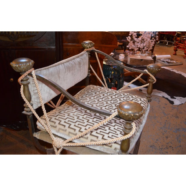 Late 19th Century Antique Italian Curule Savonarola Campaign Throne Chairs- A Pair For Sale In Chicago - Image 6 of 8