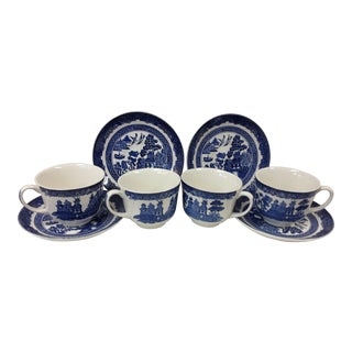 Blue Chinoiserie Willow Cups & Saucers by Johnson Brothers England For Sale