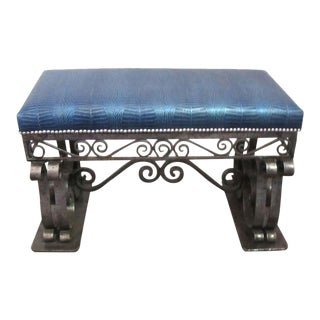 1940s Vintage French Art Deco Iron Bench with Faux Alligator Blue Leather Upholstery For Sale