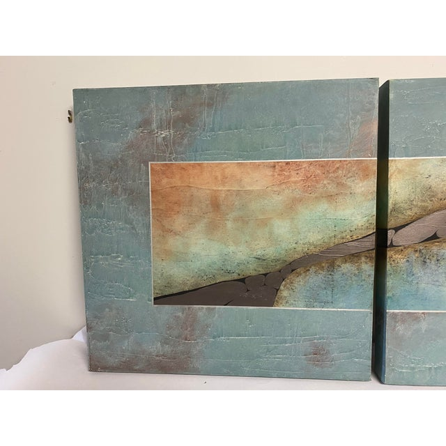 Mid-Century Three Piece Mixed Media Painting For Sale - Image 4 of 12