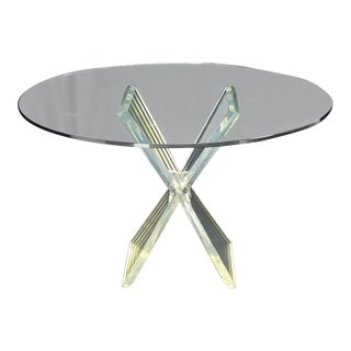 Vintage Mid Century Lucite X-Base Base Gueridon Center Table For Sale