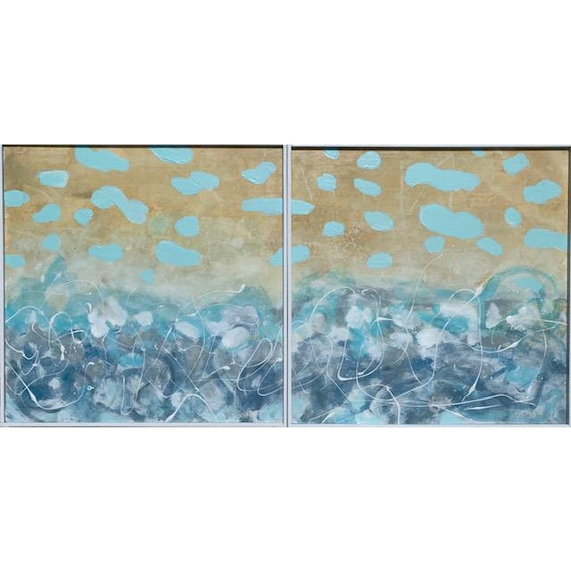 I love the nautical color wave of this abstract seascape in shades of turquoise, blue, gold and white acrylic paint on...