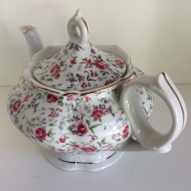 Vintage Rose Chintz Musical Tea Pot by Lefton For Sale - Image 4 of 13