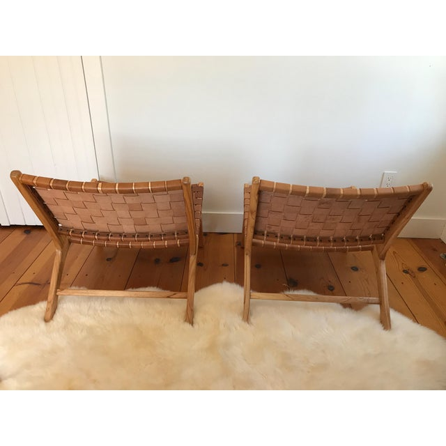 Woven Leather Lounge Chair For Sale - Image 5 of 8