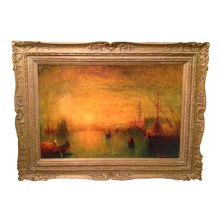 """Sunset on Water"" Oil Painting of Venice For Sale"