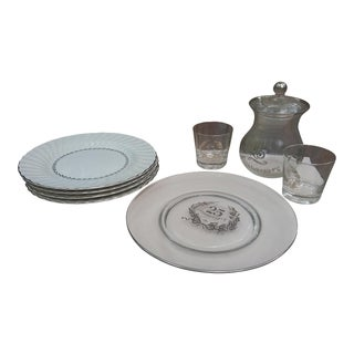 Mid-Century Modern Anniversary Set Trimmed in 925 Silver For Sale