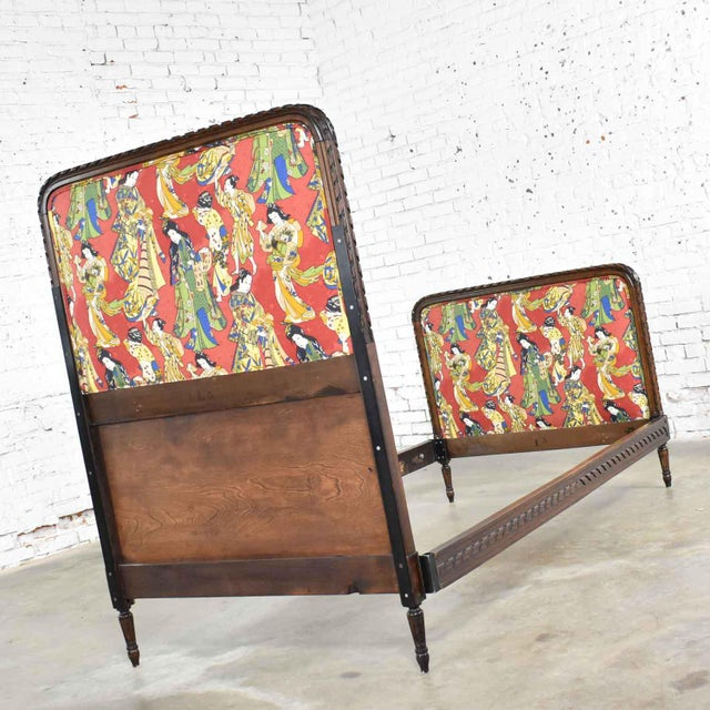French Antique French Carved Walnut and Upholstered Twin Bed With Asian Figural Fabric For Sale - Image 3 of 13