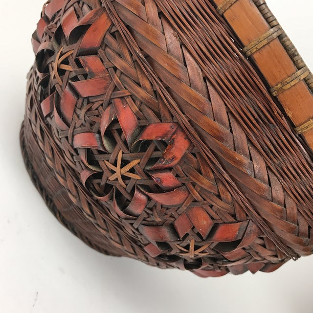 Gorgeous handmade basket made out of bamboo with intricate designs on the side. This basket is a solid basket with two...