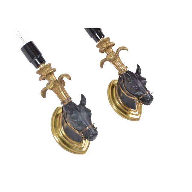 French Mid-Century Modern Black & Gold Bronze Horse Sconces, Wall Lights - Pair For Sale - Image 11 of 13