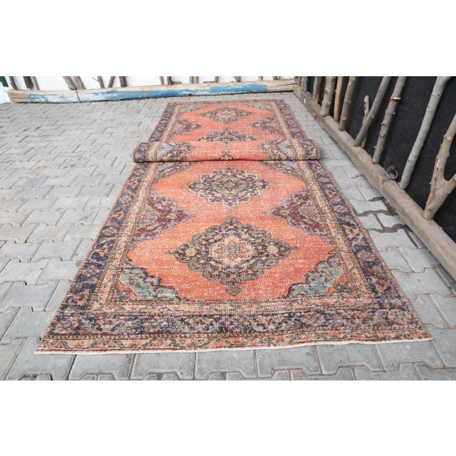 """1960's Vintage Turkish Hand-Knotted Wide Runner Rug - 4'4"""" X 12'5"""" For Sale - Image 6 of 11"""