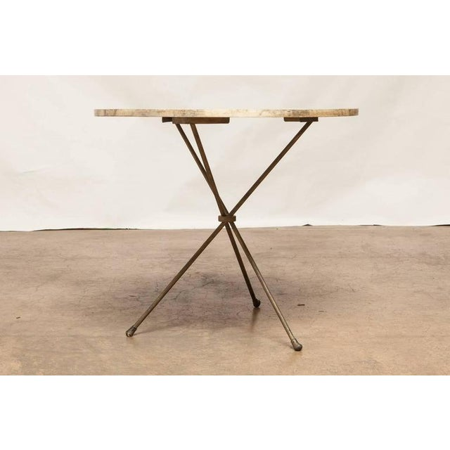 French Mid-Century Faux Marble Tripod Drink Table - Image 2 of 6