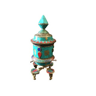 Nepalese Turquoise Stone Table Top Prayer Wheel