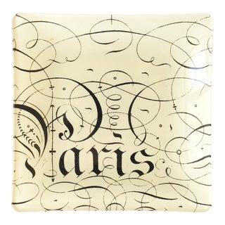 Paris Calligraphy Decoupage Glass Dish For Sale