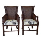 Image of Bamboo and Rattan Tommy Bahama Style Armchairs- a Pair For Sale