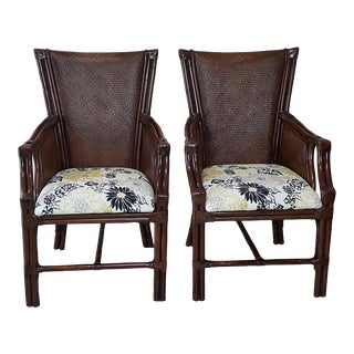 Late 20th Century Vintage Bamboo and Rattan Tommy Bahama Style Armchairs- A Pair For Sale